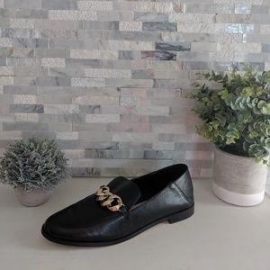 Zara Basic leather black & buckle loafers